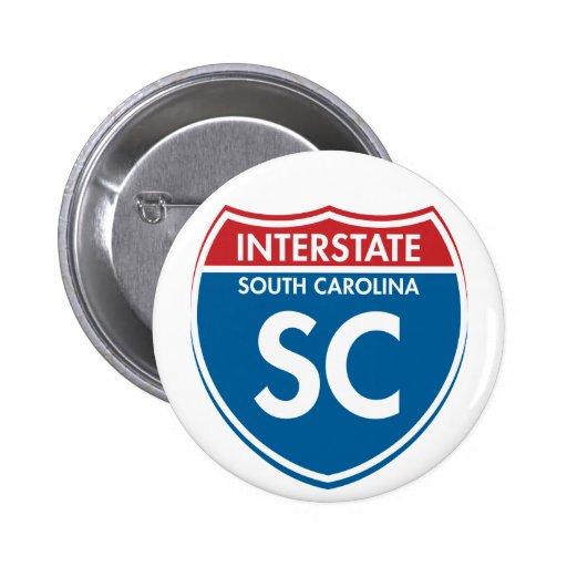 SC de un estado a otro de Carolina del Sur Pins