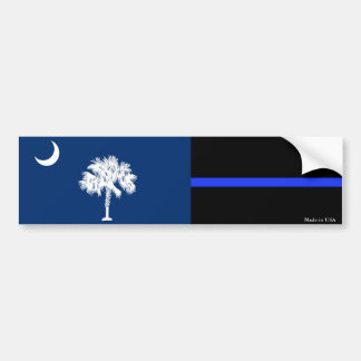SC Flag & Police Thin Blue Line Bumper Sticker