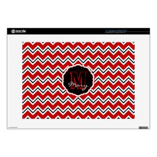 "SC Monogram Chevron Red-White-Black LaptopSkin 15 Skin For 15"" Laptop"
