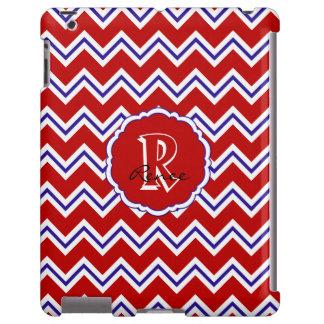 SC Monogram Chevron Red White Blue iPad Case