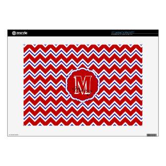 "SC Monogram Chevron Red-White-Blue LaptopSkin 15in 15"" Laptop Decal"