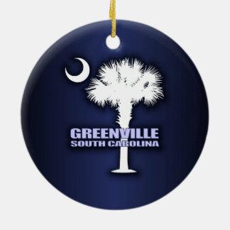 SC Palmetto & Crescent (Greenville) Double-Sided Ceramic Round Christmas Ornament