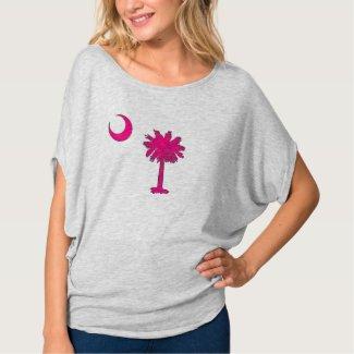 SC Pink Logo Women's Bella Flowy Circle Top, Grey Tee Shirt