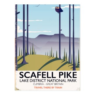 Scafell Pike, Cumbria, Vintage travel poster Postcard