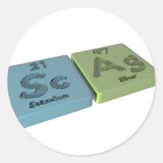 Scag como escandio del Sc y plata del AG Etiquetas Redondas