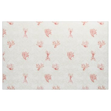 Beach Themed Scalable Repeat Beach Ocean Red Coral Damask Wood Fabric