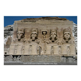 Scale model sand sculpture of Egyptian ruins, Egyp Poster