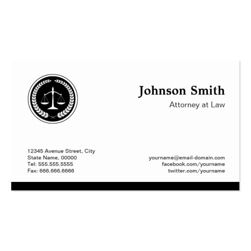 Scale of Justice Lawyer Attorney - Simple Elegant Business Card Templates (back side)