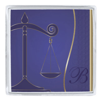 Scale of Justice | Monogram | Law Silver Finish Lapel Pin