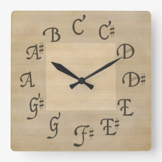 Scale of Music Notes, Antique Look Square Wall Clock