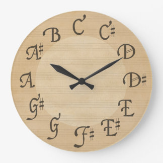 Scale of Notes with Sharps Antique Look Round Wall Clock