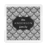 Scale Scallop Pattern Personalized Black and White Acrylic Tray