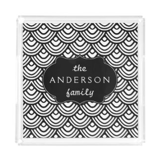 Scale Scallop Pattern Personalized Black and White Square Serving Trays