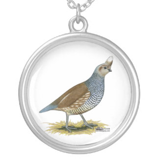 Scaled Quail Silver Plated Necklace