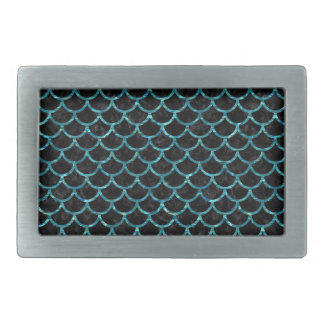 SCALES1 BLACK MARBLE & BLUE-GREEN WATER RECTANGULAR BELT BUCKLE