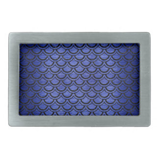 SCALES2 BLACK MARBLE & BLUE BRUSHED METAL (R) RECTANGULAR BELT BUCKLE