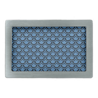 SCALES2 BLACK MARBLE & BLUE COLORED PENCIL (R) RECTANGULAR BELT BUCKLE