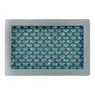 SCALES3 BLACK MARBLE & BLUE-GREEN WATER (R) RECTANGULAR BELT BUCKLE