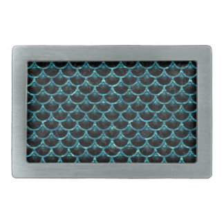 SCALES3 BLACK MARBLE & BLUE-GREEN WATER RECTANGULAR BELT BUCKLE