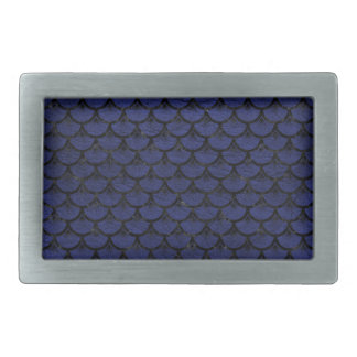SCALES3 BLACK MARBLE & BLUE LEATHER (R) RECTANGULAR BELT BUCKLE