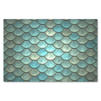 Scales in Teal and Silver Tissue Paper