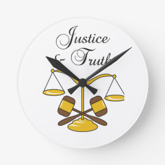 SCALES JUSTICE AND TRUTH ROUND CLOCKS