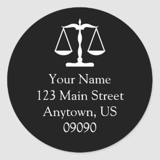 Scales Of Justice Address Label (Black)