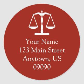 Scales Of Justice Address Label (Maroon)