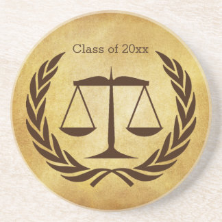 Scales of justice and laurel leaves sandstone coaster