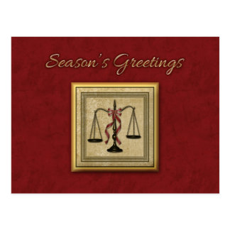 Scales of Justice, Attorney, Holiday Greeting Postcard