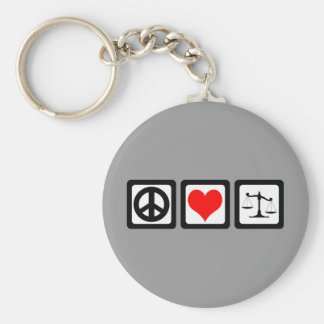 Scales of justice basic round button keychain