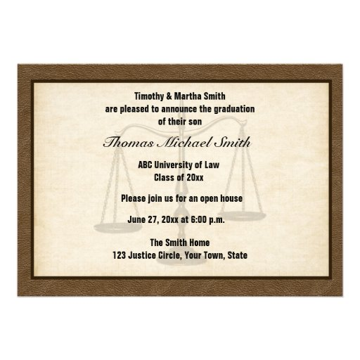 Scales of Justice, Brown, Graduate Annoucement Personalized Invite