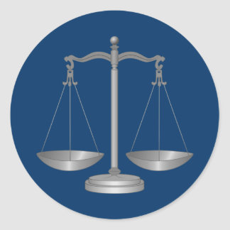 Scales of Justice Classic Round Sticker