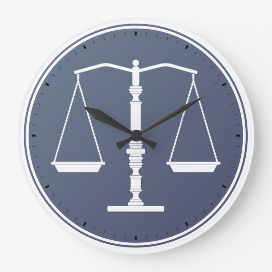 SCALES OF JUSTICE WALL CLOCK ATTORNEY LAWYER LAW FIRM 10 INCH DIAMETER