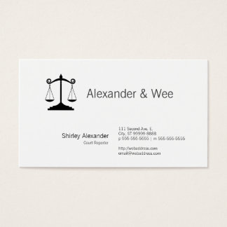 Scales of Justice Court Reporter Business Card