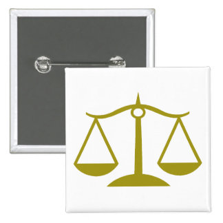Scales of Justice - Gold 2 Inch Square Button