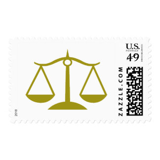Scales of Justice - Gold Postage Stamp