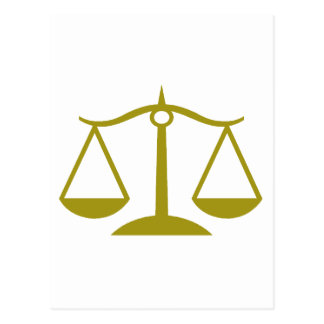 Scales of Justice - Gold Postcard