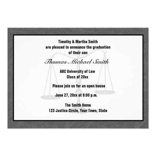 Scales of Justice, Gray, Graduate Annoucement Personalized Invite
