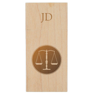 Scales of Justice | Initials Wood Flash Drive