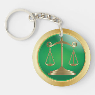 Scales of Justice | Law Double-Sided Round Acrylic Keychain