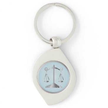 Lawyer Themed Scales of Justice   Law   Lawyer   Aqua Blue Keychain