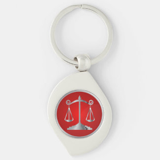 Scales of Justice | Law | Lawyer | Red Silver-Colored Swirl Metal Keychain