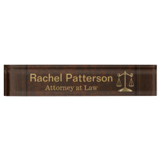 Scales of Justice | Lawyer | Rustic Brown Leather Desk Name Plate