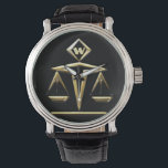 "Scales of Justice - Monogrammed (v1) Watch<br><div class=""desc"">Must-Have wristwatch w/ Art Deco inspired golden Scales of Justice set against a black background w/ custom text field for your monogram at 12:00. Together w/ this elegant vintage black leather band &amp; black metal bezel,  it&#39;s perfect for the lawyer,  judge,  law student,  paralegal,  etc. in your life!</div>"