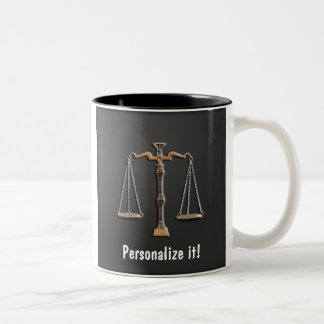 Scales of Justice on Ebony - PERSONALIZE IT! Two-Tone Coffee Mug