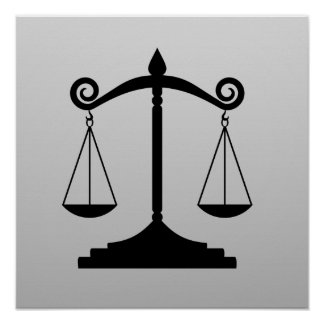Scales of Justice on Gradient Poster