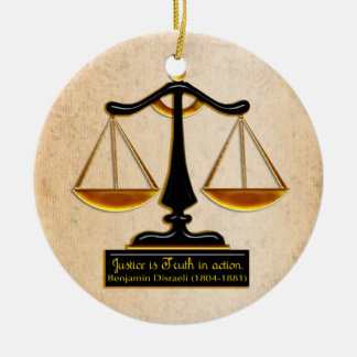 Scales of Justice on Parchment (Personalized) Ceramic Ornament