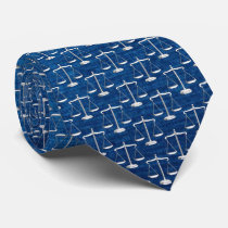 Scales of Justice Pattern | Blue Neck Tie