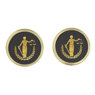 Scales of Justice Personalize Gold Cufflinks